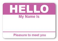 Sticker Hello My Name is Purple Name Tags