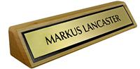 Solid Ash (wooden) Desk Plate - Brushed Gold Metal Plate with Black Border