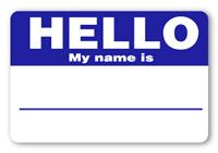 Sticker Hello My Name is Navy Blue Name Tags