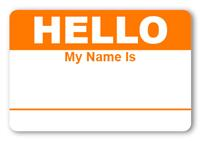Sticker Hello My Name is Bright Orange Name Tags